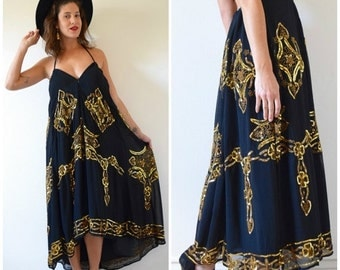 SUMMER SALE / 20% off Vintage 80s 90s Black and Gold Sequined and Beaded High Waisted Maxi Skirt