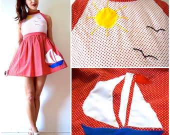 Vintage 60s 70s Day at Sea Red and White Polka Dot Sailboat Applique Mini Dress (size xs, small)