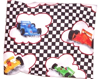 CLEARANCE - Children's Heating Pad, Hot Cold Compress, Washable Cover, Race Car Flannel Fabric - Flaxseed Rice Mix - Unscented