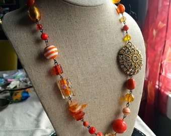 Beaded necklaces, french jewelry, orange necklaces, short necklaces, statement necklaces, FREE SHIPPING