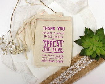 Spread The Love Custom Muslin Cloth Bags 4x6 perfect for let love bloom flower seed wedding favors 15 qty --13021-MB04-610