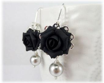 Black Rose Pearl Earrings - Black Rose Pearl Jewelry