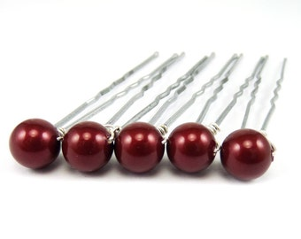 Red Pearl Hair Pins - 8mm Swarovski Pearls Set of 5