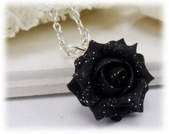 Dainty Black Rose Glitter Necklace - Glitter Jewelry, Glitter Flower Necklace
