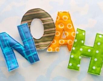 Sewn Fabric Applique Letters Embellishment NOAH