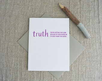 Letterpress Greeting Card - Thank You Card - TRUTHnote - TRN-010