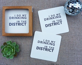 Letterpress Coasters - Washington DC Local Love - Drinking in the District - Set of 8 - LLV-456