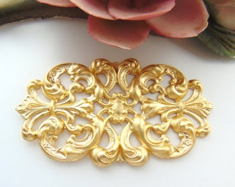 BRASS Floral Filigree Cartouche / Plaque Brass Ornament Stampings - Jewelry Findings (C-806) #