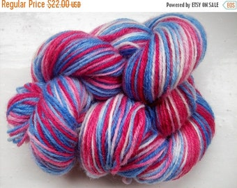 JULY SALE Sock yarn, hand dyed wool, hand painted, patriotic red, white and blue 100g by SpinningStreak