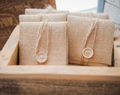 100 Natural Burlap USB/Wallet Pouches with Grey Chevron Lining