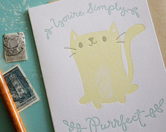 Simply Purrfect, Love and Friendship Letterpress Card