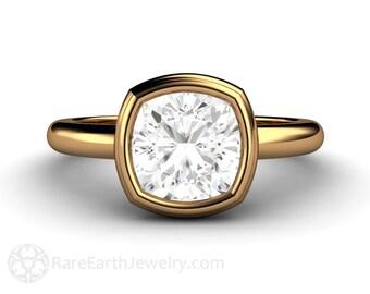 Moissanite Engagement Ring Cushion Solitaire Bezel Forever Brilliant Moissanite Ring 14K or 18K Gold Conflict Free Engagement