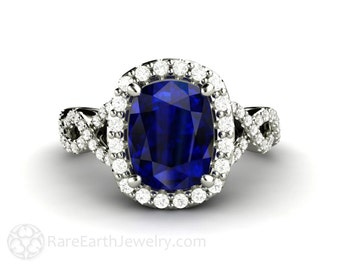 Cushion Blue Sapphire Engagement Ring Infinity Diamond Halo Sapphire Ring 14K 18K Gold or Platinum