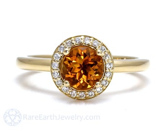 Citrine Ring 14K or 18K Diamond Halo Citrine Engagement Ring November Birthstone Gemstone Ring