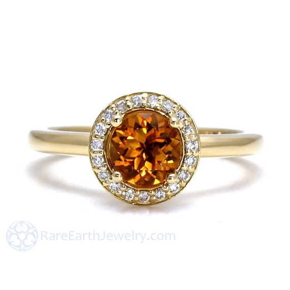 citrine ring 14k or 18k halo citrine engagement ring