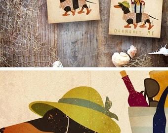 Dachshund beach life dog art illustration graphic art on canvas panel by stephen fowler