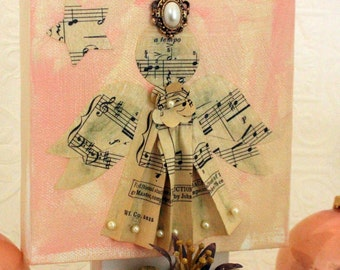 Guardian Angel - Vintage Sheet Music Guardian Angels - Baptism or Nursery Art - Original Mixed Media Art Piece by Suzanne MacCrone Rogers