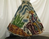 "50s Mexican Circle Skirt Vintage Handpainted skirt Singer and Tequila Martin Corona Horses Guitars Maguey Cactus S - M to 27.5"" waist"