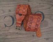 Vintage Wide Leather belt wide Woven Leather vintage Brown leather Belt patina handmade SCA rustic cosplay belt  M