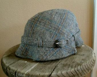 Gray Tweed fedora vintage wool tweed hat 60s wool fall hat brimmed cap 60s Hat British made Failsworth M L