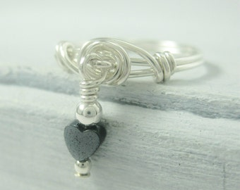 Dangle Ring Wire Wrapped Promise Ring Sterling Silver and Hematite Heart Purity Ring -- Any Size Available