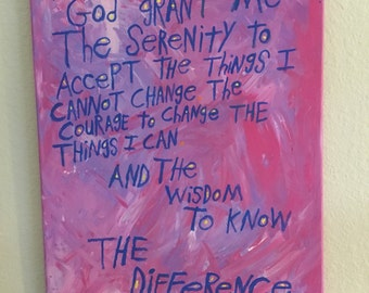 Serenity Prayer Original Word Art Painting on Canvas