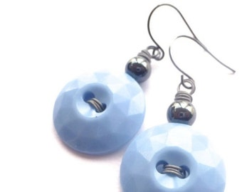Christmas in July Sale Faceted Vintage Button Earrings - Pastel Blue and Gray