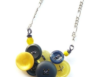 Winter sale Little Yellow and Navy Blue Vintage Button Necklace -Team Colors