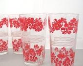 Beverage Glasses, Red Floral Flowers, White Ribbon, Vintage, Holds 8 oz, Set of 6 Drinking Glasses, Vintage Retro Red Kitchen, c1950