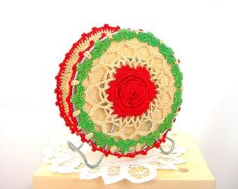 Retro Crochet Doily Covered Napkin Holder - Farmhouse Kitchen-  Red Green Ecru - Wire Frame- Vintage c1950s Home Decor - Country Kitchen
