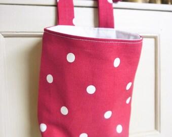 Thread Catcher -  Craft Caddy- Red & White Polka Dots - Linen -  Handmade