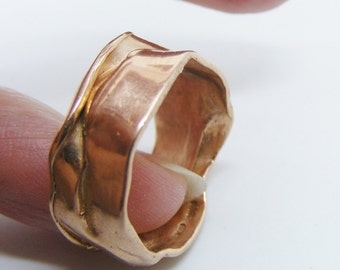 Size 6 3/4 Solid Rose gold Crush Ring, Handmade Solid 9k Rose Gold Band Ring uk size N 1/2