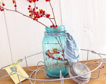 Do the Can Can... Vintage Ball and/or Mason Canning Jar Metal Wire Carrier  With One Vintage Blue Ball Jar With Zinc Lid Farmhouse Chic