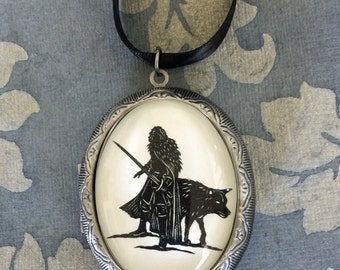 Sale 20% Off // Game of Thrones Jon Snow Locket Necklace - locket pendant on ribbon - Silhouette Jewelry // Coupon Code SALE20