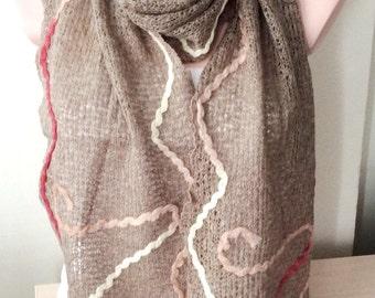 Brown Scarf-Wool Linen scarf - wrap scarf - winter scarf
