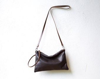 sale - Wristlet Clutch in espresso brown - large - crossbody pocket clutch - select leather