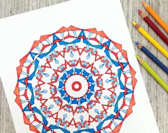 Downloadable Coloring Pages, Coloring Book for Adults, Art Deco Celtic Knots and Kaleidoscopes