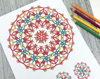 Downloadable Coloring Pages, Coloring Book for Adults, Sea Shanties Celtic Knots and Kaleidoscopes