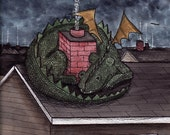 Guardian Dragon FINE ART reproduction PRINT