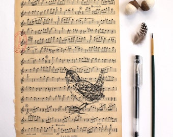 Sale Wren Gocco Print Flute Screen Print on Vintage Music