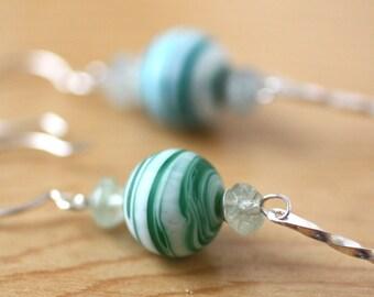 Mismatched SwirL Bead Earrings, Aqua and Green Swirl Silver Earrings, Summer Fashion Long Earrings, Modern Style Earrings