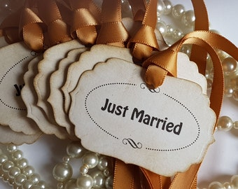 Wedding Favor Tags, Wedding Favours, Gift Tags, Just Married, Gold Wedding, Gold Decorations, Black and Gold, Old Gold Wedding, Table Decor