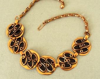 Vintage Copper Choker, Copper Necklace, Mid Century, Modern, Brutalist, 1950s, 1960s