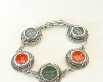 CIJ SALE Typewriter Key Jewelry, Bracelet, Red and Green Function Keys,  Retro. Recycyled. Reclaimed. Vintage
