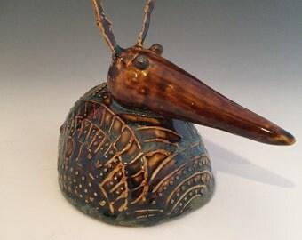 Ceramic Armadillo - Textured Rattle - Rattle -Spirit Rattle 109-35