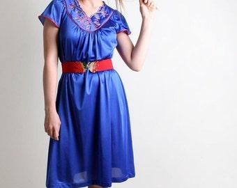 ON SALE Vintage Vanity Fair Slip - Royal Blue Embroidered Nightown Dress - Medium to Large