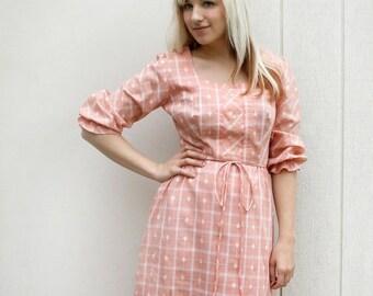 ON SALE Vintage Prairie Dress - Alice Of California Peach Pink Plaid Maxi Dress - Medium Spring Fashion