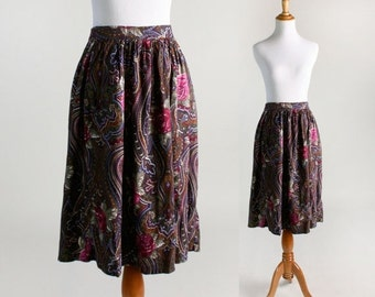 ON SALE Vintage Paisley Skirt - 1980s Floral Dark Garden Grunge Skirt - Large