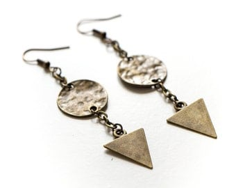 Hammered Disc and Triangle Dangle Earrings