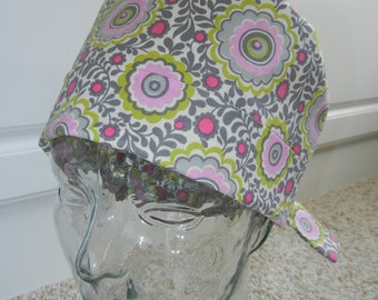 Fold Up Tie Surgical Scrub Hat in Floating Flower